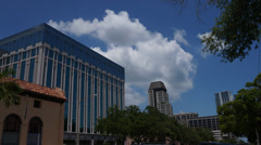 Office Building With Clouds In Downtown St. Pete Florida Ultra HD Time Lapse Stock Footage