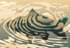 rippled fish - stock illustration