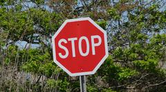 Stop Signs, Halt, Warnings, Traffic Safety - stock photo