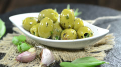 Green olives (loopable) Stock Footage