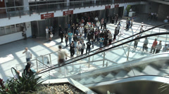 Staircase crowd people hurry business walking timelapse Stock Footage