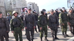 The police are on the March of the Russian opposition Stock Footage