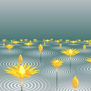 lotus lake - stock illustration