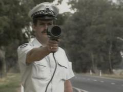 Policeman Demonstrated Radar Gun In Australia Stock Footage