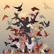 in the flock - stock illustration