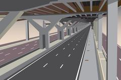 Under the tollway Stock Illustration