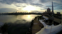 Timelapse Sunset Masjid Putra in Putrajaya Malaysia Stock Footage
