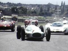 Vintage Racing Cars Past Camera Stock Footage