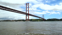 25 de Abril Bridge in Lisbon, Portugal. Stock Footage