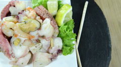 Mixed seafood salad (loopable) Stock Footage