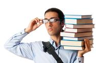 Student with stack of books on white Stock Photos