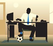 football desk - stock illustration