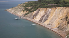 Alum Bay Isle of Wight next to the Needles tourist attraction Stock Footage
