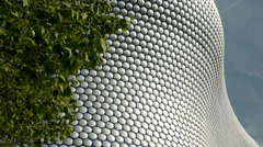 Detail of modernist department store exterior in   Birmingham, England. Stock Footage