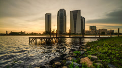 Sunset At Putrajaya Lake With Ministry Buildings, Slider Motion Stock Footage