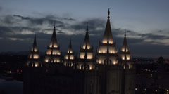 Salt Lake City Mormon LDS Temple night spires HD 026 Stock Footage