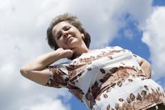 Woman to place diagonally Stock Photos