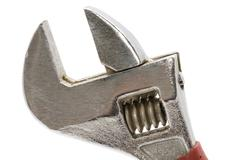 adjustable wrench close up - stock photo