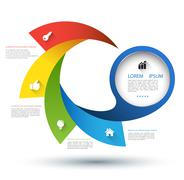 Circle with step and icons Stock Illustration
