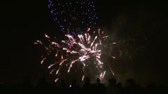 Crowd of people watching fireworks Stock Footage