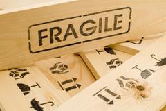 Stock Photo of fragile sign on wood box