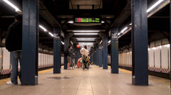 Passengers at Park Place NYC Subway Station (IRT West Side Line). Time Lapse. Stock Footage