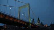 Stock Video Footage of NIGHT VESSEL ERZSEBET BRIDGE MEDIUMSHOT 1