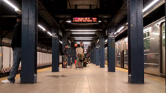 Passengers at Park Place NYC Subway Station (IRT West Side Line). Stock Footage
