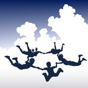 skydiving children - stock illustration
