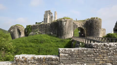 Corfe Castle Dorset England listed building and Ancient Monument Stock Footage