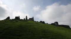 Corfe Castle England listed building and Scheduled Ancient Monument Stock Footage