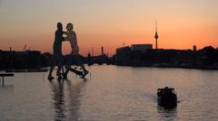 Spree sunset scene, UHD 4K Stock Footage