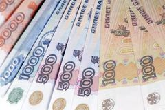 Russian paper currency closeup Stock Photos