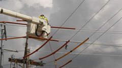 lineman connecting wires - stock footage
