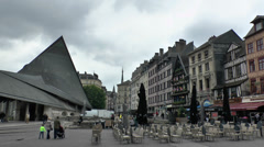 General view of old buildings & Eglise Jeanne d'Arc in central Rouen, France. Stock Footage