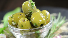 Portion of green olives (not loopable) Stock Footage