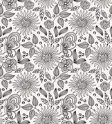 Decorative flower seamless background Stock Illustration