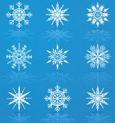Set of vector snowflakes Stock Illustration