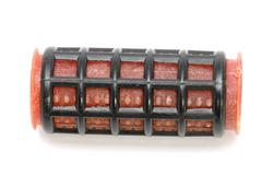 Red hair-rollers macro Stock Photos