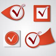 set of stickers ticks - stock illustration