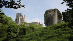 Corfe Castle Dorset England side view Stock Footage