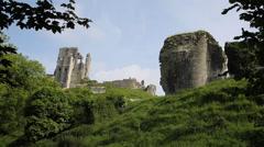 Corfe Castle Dorset England side view Stock Footage