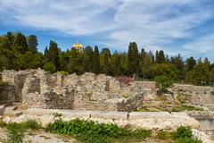 the remains of the ancient city of chersonesus - stock photo