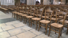 Chairs laid out in Rouen Cathedral, France (handheld). Stock Footage