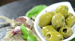 Green olives (not loopable) Stock Footage