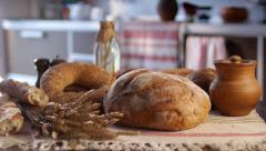 Stock footage food bread on the table as a symbol of harvest Stock Footage