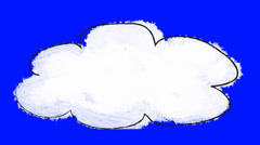 Hand Sketch Cartoon Cloud on a Blue Screen Stock Footage
