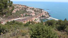 Panorama near the French town Cerbere Stock Footage