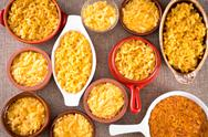 Stock Photo of conceptual above view of cheese macaroni served