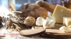 Stock footage food cheese and bread Stock Footage